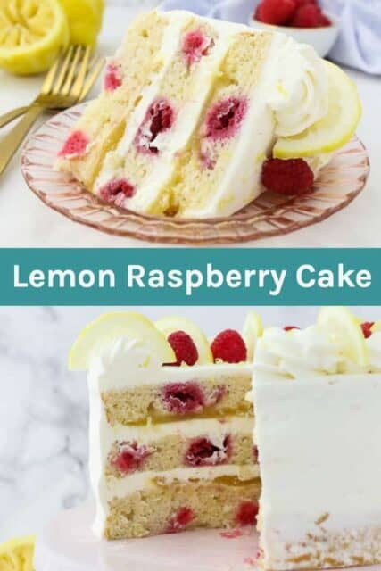 Two images of a slice of lemon raspberry cake with a text overly