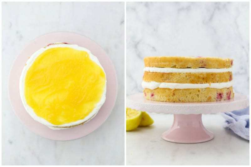 Two side by side images, one is a top view and one is a side view of a lemon cake