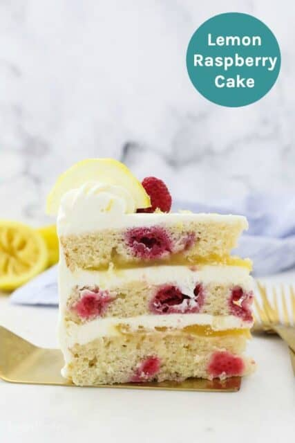 An image of a slice of lemon raspberry cake with a text overly
