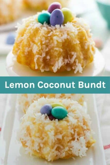 Two pictures of lemon bundt cakes with a text overlay