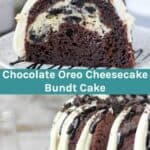 Two images of an Oreo chocolate bundt cake with text overlay