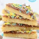 A stack of 4 sugar cookie bars with text overlay