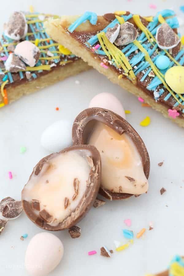 A cracked open Cadbury Creme Egg