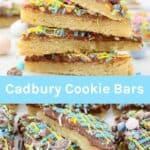 Two pictures of Easter cookie bars with text