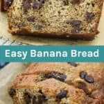 Two images of banana bread with text overlay