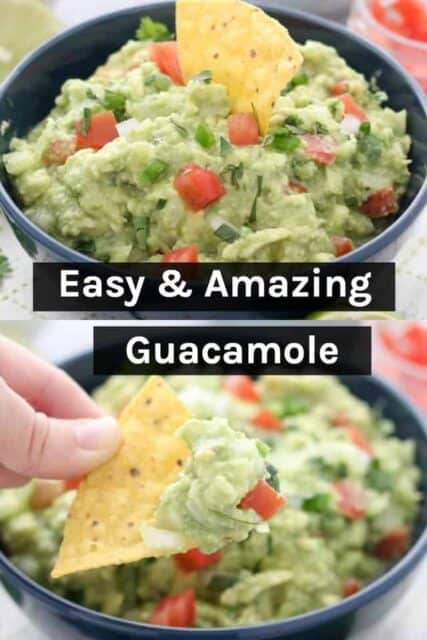 Two images of guacamole with a text overlay