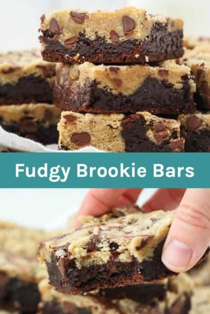 Two pictures of a brookie bar with a text overlay