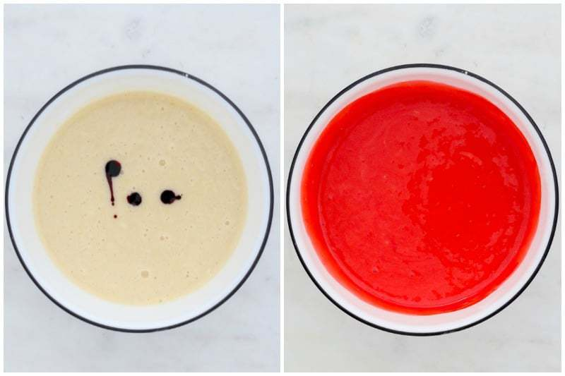 two side by side shots to show how to color cake batter