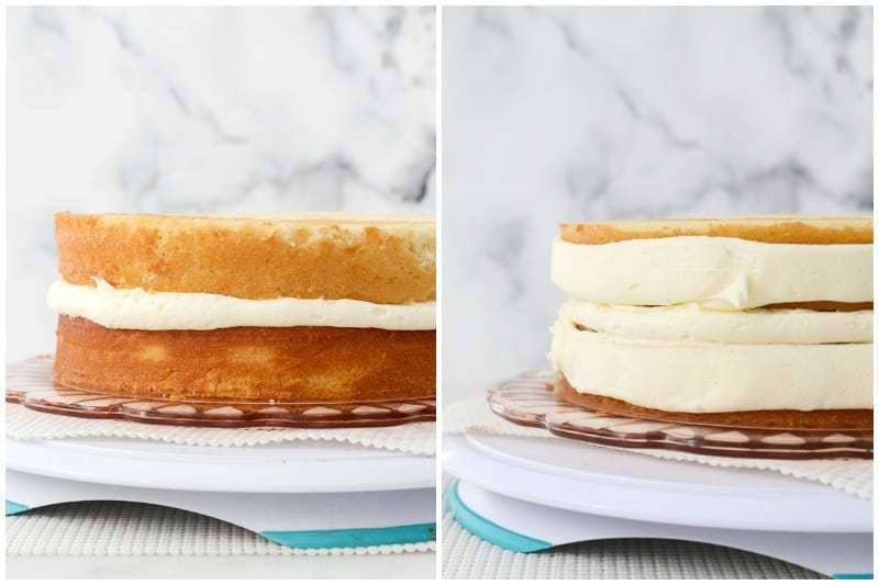 two side by side images showing how to frost a layer cake