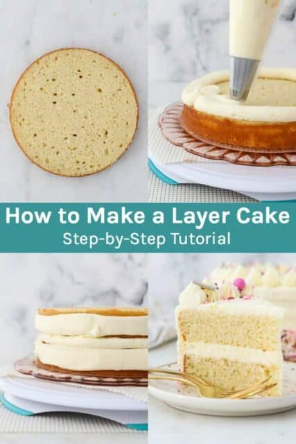A collage with 4 images for making a cake