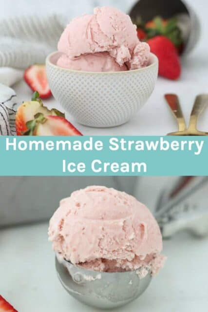 Two images of strawberry ice cream with text