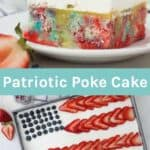 Two images of a patriotic cake with a text overlay