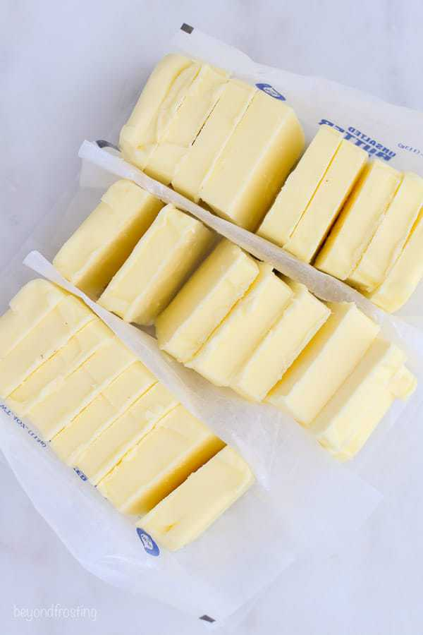 three sticks of butter chopped into cubes