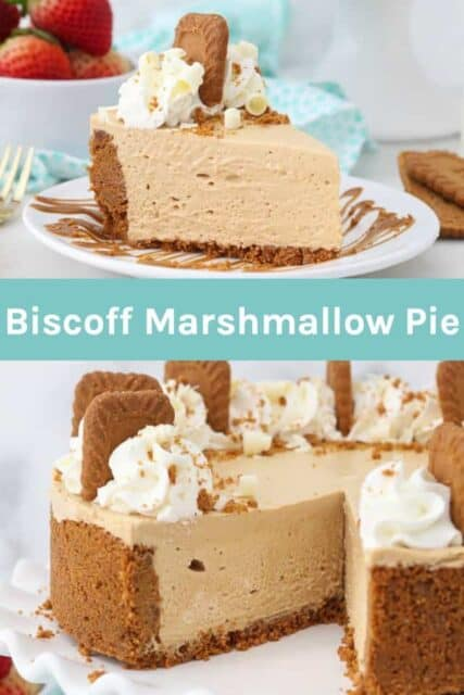 Two images of Biscoff Pie with a text overlap