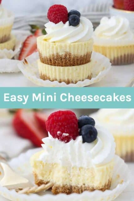 Two pictures of mini cheesecake cupcakes with a text overlay