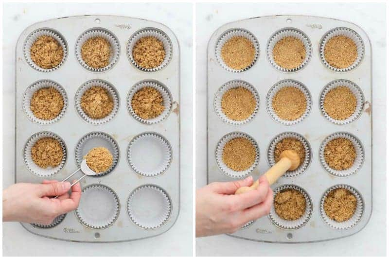 two side by side images showing the process of making the crust for mini cheesecakes in a muffin tin