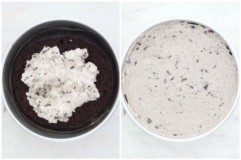 two side by side images showing how to make an ice cream cake