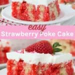 two images of of a jello poke cake with text overlay