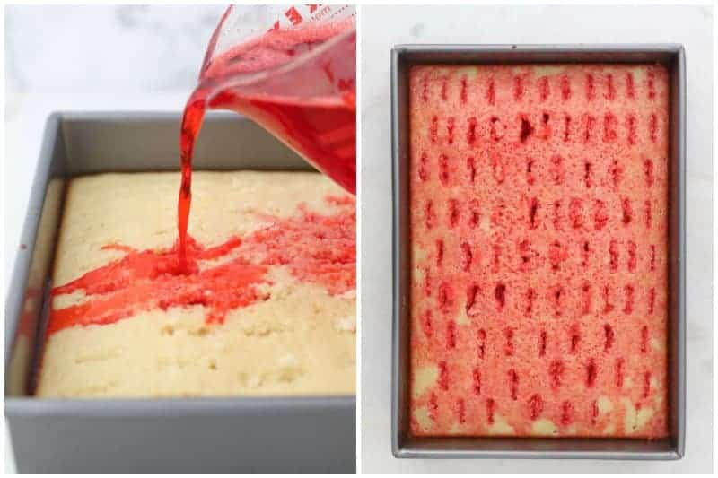 two side by side images showing a jello mixture being poured over a cake
