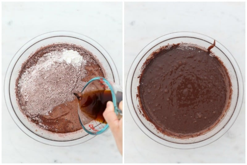 two side by side images showing the process of making chocolate cupcakes