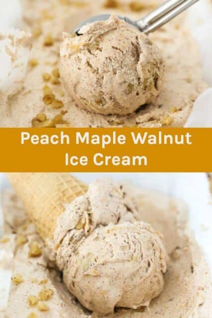 Two images of peach ice cream with a text overlay