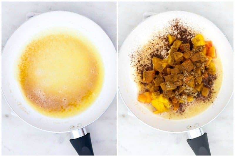 two side by side images. One with brown butter and one with peached, cinnamon and brown sugar added