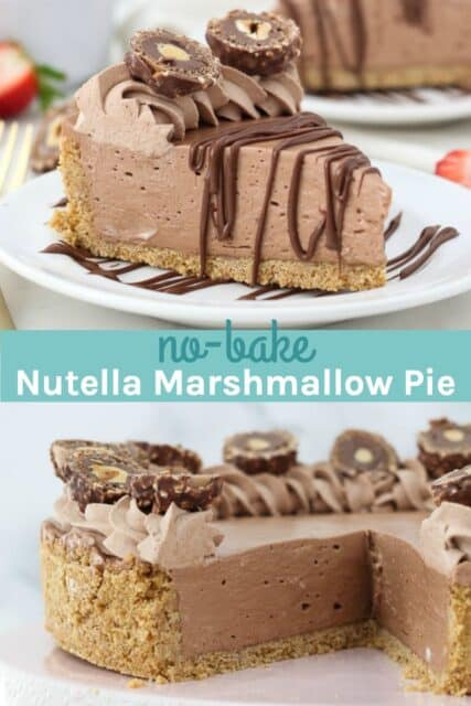 two pictures of Nutella pie with a text overlay