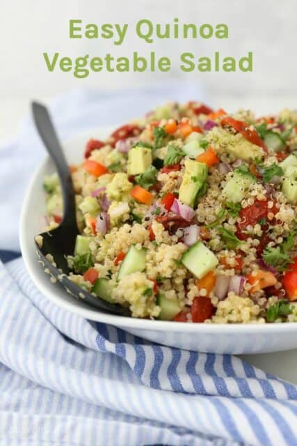 a picture of a cold quinoa salad with a text overlay