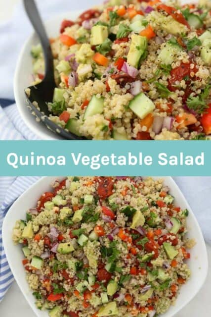 two images of quinoa salad with a text overlay