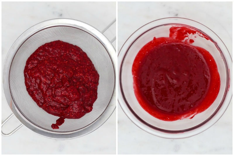 two side by side images showing how to separate the seeds from raspberry puree using a strainer