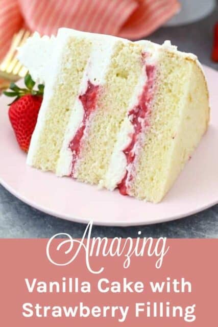 A slice of vanilla cake with strawberry filling on a pink plate with a text overlay