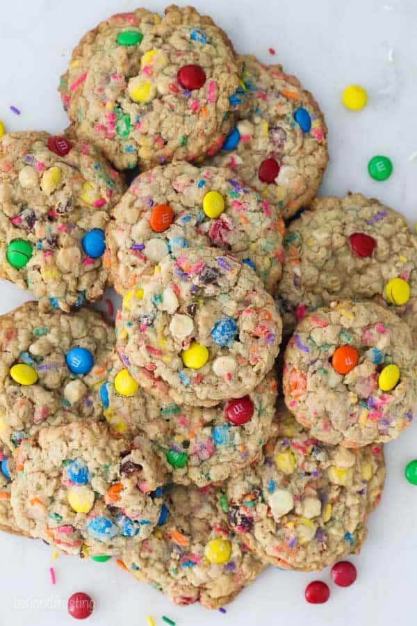an overhead shot of MnM oatmeal cookies