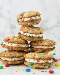Stacked oatmeal cookie sandwiches