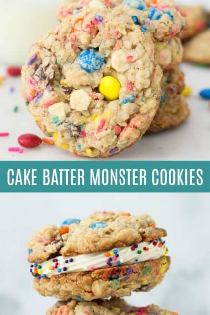 Two pictures of monster cookies with a text overlay