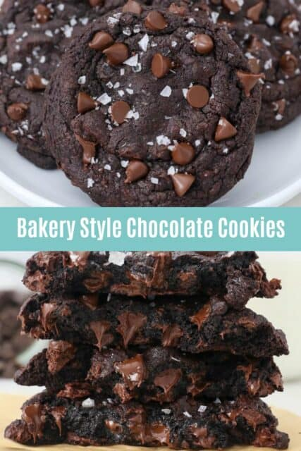 two images of chocolate chocolate chip cookies with a text overlay