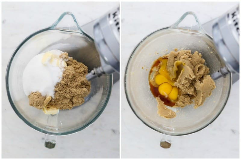 two side by side images of a mixing bowl showing the process of making cookies