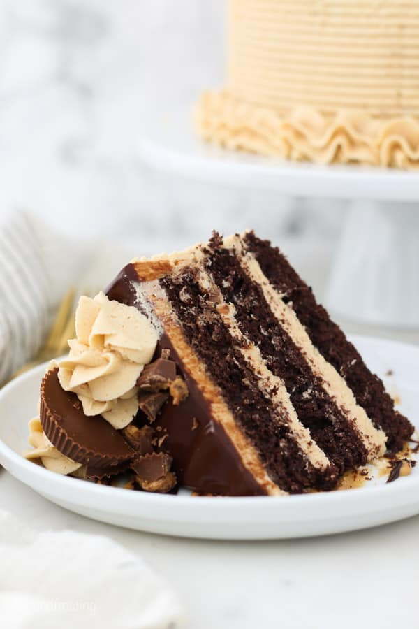 white plate with a slice chocolate cake with peanut butter frosting
