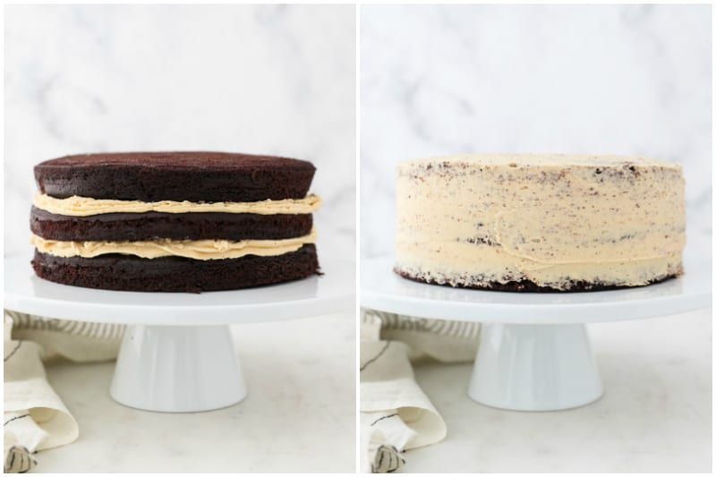 two side by side images showing the process to frost a layer cake