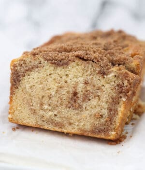 slices of cinnamon sugar quick bread on parchment paper