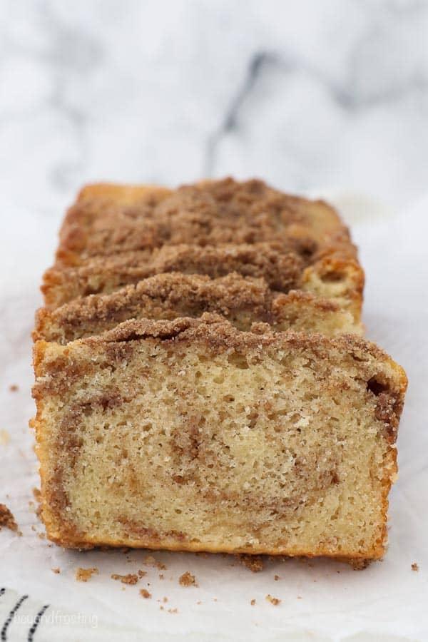 slices of cinnamon sugar quick bread on parchment paper