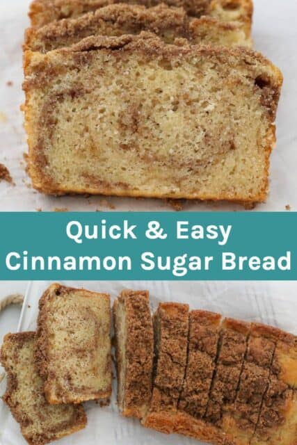 two images of cinnamon sugar quick bread with text overlay