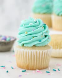 A vanilla cupcake with teal frosting and sprinkles