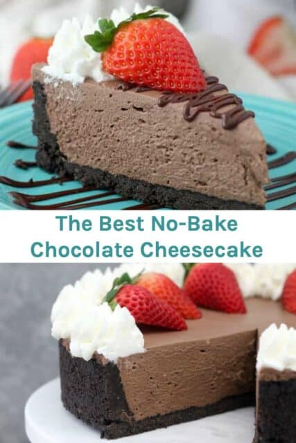 Two images of chocolate cheesecake with a text overlay