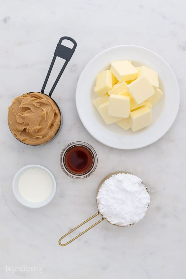 an overhead shot of ingredients for peanut butter frosting
