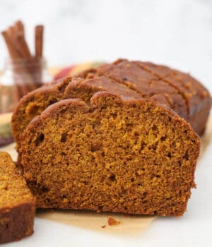 A loaf of pumpkin bread, sliced