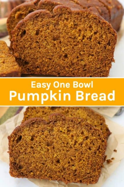 two images of pumpkin bread with a text overlay