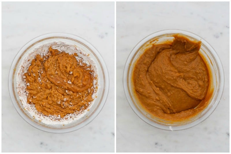 two side by side images of pumpkin muffin batter in a glass mixing bowl
