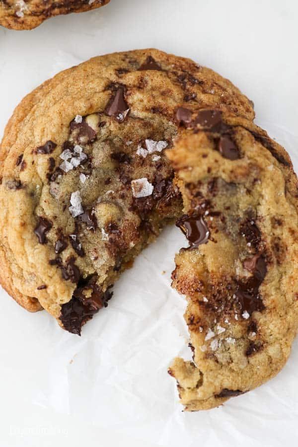 A broken chocolate chip cookie