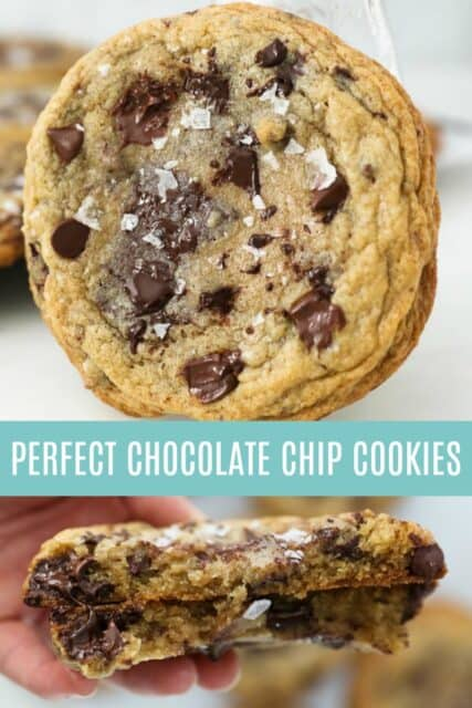 Two images of chocolate chip cookies with a text overlay
