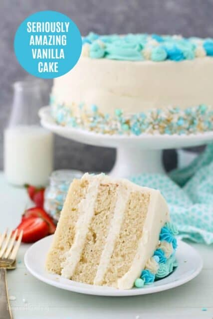A slice of vanilla cake with a text overlay